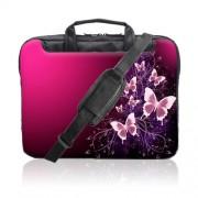 TaylorHe-Funda-para-porttil-15-40cm-bolso-de-bandolera-para-15-156-Laptop-con-bolsillos-laterales-para-accesorios-SamsungAcerToshibaMacbook-diseo-de-mariposas-rosa-chispas-0